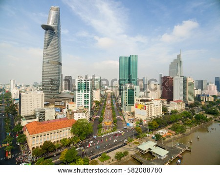 Ho Chi Minh City / Vietnam - February 01, 2017 : High view of Nguyen Hue flower street from drone during Lunar New Year at downtown of Ho Chi Minh City, Vietnam