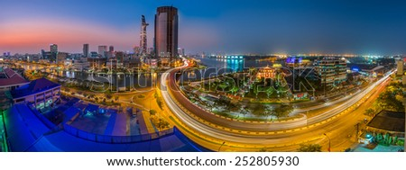 HO CHI MINH CITY, VIETNAM - FEBRUARY, 09, 2015 :Panoramic view of Ho Chi Minh city or Saigon at night, Vietnam. Ho Chi Minh city is the biggest city and economic center in Vietnam - stock photo