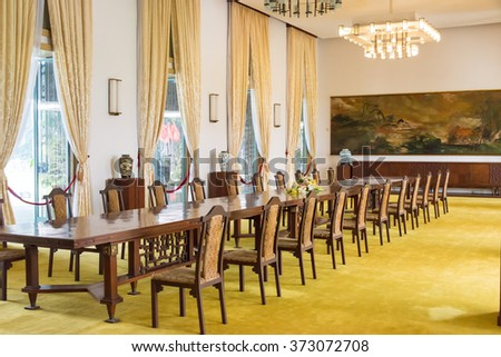 Ho Chi Minh City, Vietnam - Jan 26 2015: State Banqueting Hall at Independence Palace. a famous Historical Museum in Ho Chi Minh City, Vietnam.