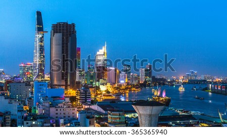 HO CHI MINH CITY, VIETNAM - JAN 15, 2016: Top view of Ho Chi Minh City at night. Ho Chi Minh, former Saigon, is located in the South of Vietnam, is the country's largest city, population 8 million.