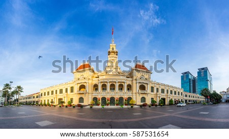 Ho Chi Minh City / Vietnam - January 28, 2017 : Ancient People's Committee Building in Sai Gon, Vietnam