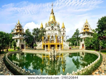 HO CHI MINH CITY, VIETNAM - JANUARY 28: Landscape of Buu Long Buddhist temple in Ho chi minh city, Vietnam on January 28, 2014.  - stock photo