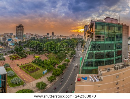 HO CHI MINH CITY, VIETNAM - JANUARY, 05, 2015 :Panoramic view of Ho Chi Minh city or Saigon at dusk, Vietnam. Ho Chi Minh city is the biggest city and economic center in Vietnam - stock photo