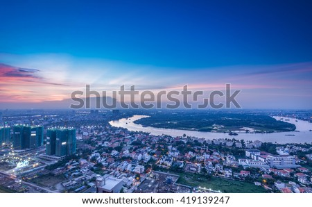 Ho Chi Minh City, Vietnam - July 04, 2015: Beautiful dawn over downtown.