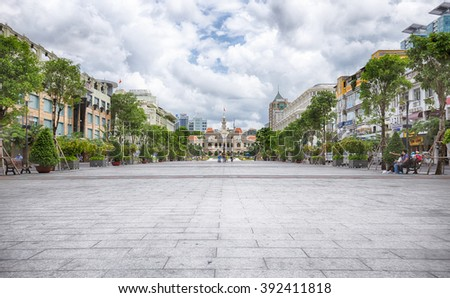 HO CHI MINH CITY, VIETNAM JULY 12 2015: Nguyen Hue Street have been renovated, located in District 1 is a major focal point of city life, with a pedestrian mall, restaurants, shops and major hotels.