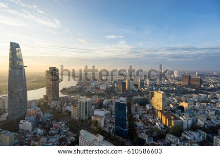 Ho Chi Minh City, Vietnam - March 25, 2017 : Aerial view of Ho Chi Minh city, Vietnam in sunrise or sunset
