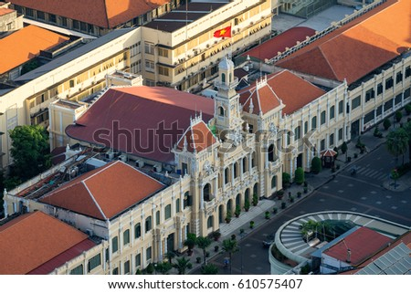 Ho Chi Minh City, Vietnam - March 25, 2017 : Ancient People's Committee Building in Sai Gon, Vietnam