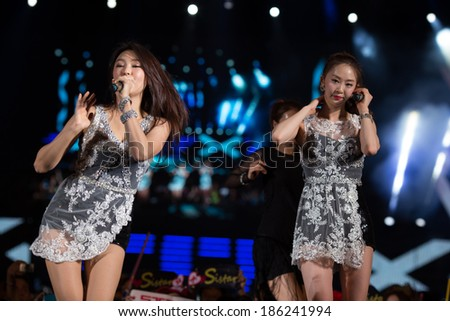 Ho Chi Minh City, Vietnam - March 22: Bora and Dasom (Sistar band) dance and sing on stage at the Human Culture Equilibrium Concert Korea Festival in Viet Nam on March 22, 2014.