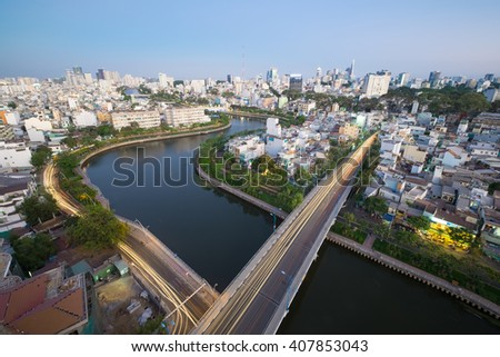 Ho Chi Minh City, Vietnam-March 20, 2016: The Curve of Nhieu Loc Canal,where was renovated and completed by the end of 2014,brought an incredible improvement for the people's life around these canals.