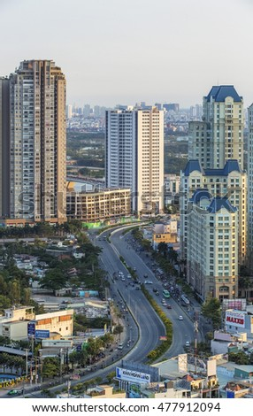 HO CHI MINH CITY, VIETNAM - MAY 12, 2016: Ho Chi Minh City view. Dien Bien Phu street and Sai Gon bridge