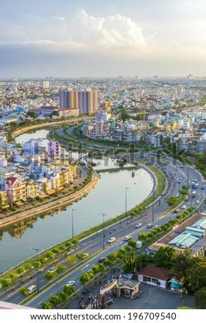 HO CHI MINH CITY, VIETNAM - MAY 21: Tau Hu Canal and the new Vo Van Kiet Boulevard  in Ho Chi Minh City on May 21, 2014 - stock photo