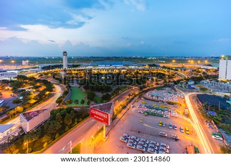 HO CHI MINH CITY, VIETNAM November 10, 2014 Airport Tan Son Nhat International Airport, the international airport in southern Vietnam - stock photo