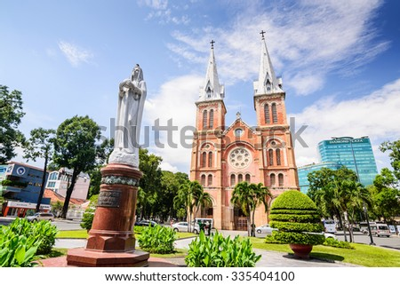HO CHI MINH CITY, VIETNAM - NOVEMBER 2: Virgin Mary statue in front of Notre-Dame Cathedral landmark in Ho Chi Minh City, Vietnam on November 2, 2015. Ho Chi Minh is a popular tourist of Asia.
