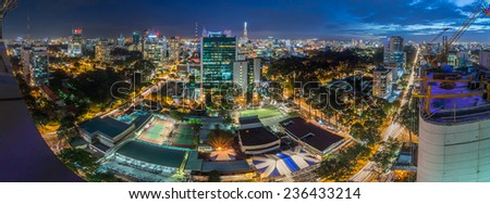 HO CHI MINH CITY, VIETNAM - OCTOBER 30, 2014 :Panoramic view of Ho Chi Minh city or Saigon at night, Vietnam. Ho Chi Minh city is the biggest city and economic center in Vietnam - stock photo