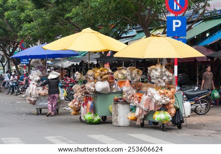 Ho Chi Minh City, Vietnam-30th Oct 2013: Street scene in Cholon. Cholon is the Chinatown area of the city. - stock photo