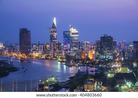 Ho Chi Minh City view at night  - stock photo