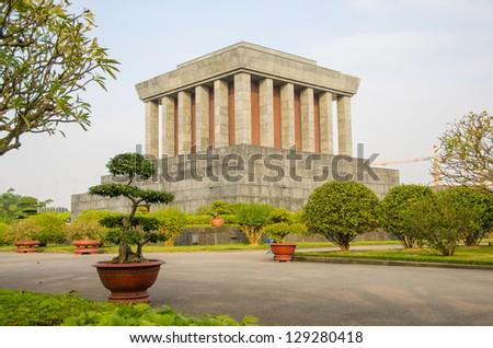 Ho Chi Minh mausoleum in Hanoi, Vietnam - stock photo