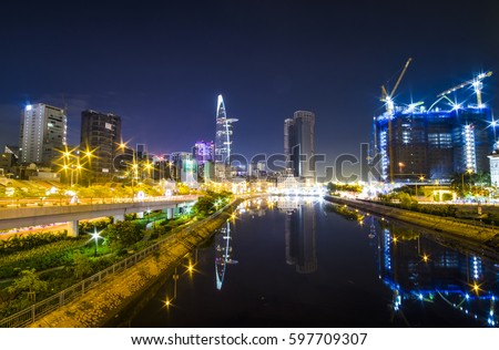 HO CHI MINH, VIET NAM - MAR 11, 2017: Ho Chi Minh city at night, view from Calmet Bridge to Bitexco tower, Sai Gon, Viet Nam.