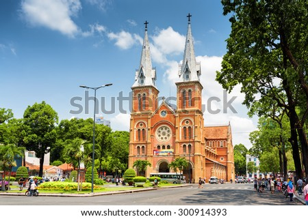 HO CHI MINH, VIETNAM - APRIL 30, 2015: Saigon Notre-Dame Cathedral Basilica on blue sky background in Ho Chi Minh city, Vietnam. Ho Chi Minh is a popular tourist destination of Asia.