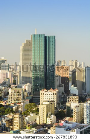 HO CHI MINH,VIETNAM - APRIL 8, 2015: Times Square building in Ho Chi Minh City, Vietnam. - stock photo