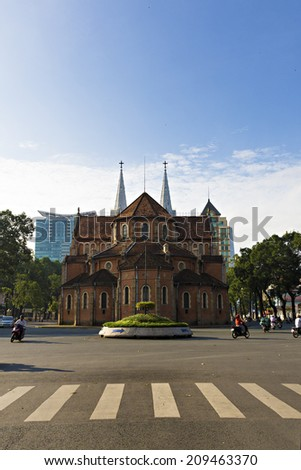 HO CHI MINH, VIETNAM - Aug 07, 2014: Notre Dame cathedral Backside( Duc Ba Church ), is a cathedral located in the downtown of Ho Chi Minh City - stock photo