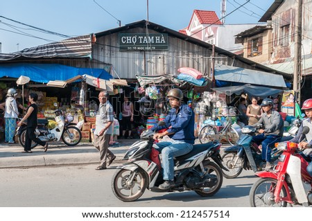 HO CHI MINH, VIETNAM - AUGUST 23: Area view of Tam Ha Market in early morning on August 23, 2014 in Thu Duc District, Ho Chi Minh city, Vietnam - stock photo