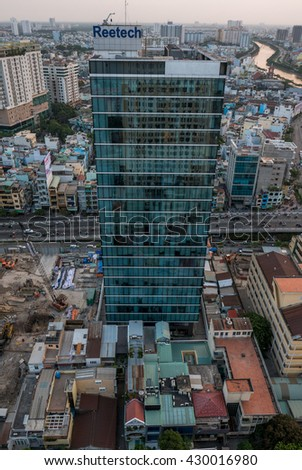 HO CHI MINH, VIETNAM - FEBRUARY 23: Ho Chi Minh City skyline aerial view with small colored residential houses, medium class district of the capital of Vietnam 2016
