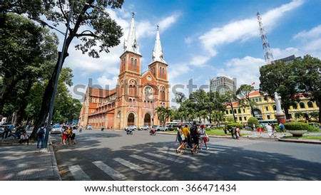 HO CHI MINH, VIETNAM - 21 Jan, 2016. Notre Dame Cathedral (Vietnamese: Nha Tho Duc Ba) in sunny day. Build in 1883 in Ho Chi Minh city, Vietnam. HO CHI MINH CITY (SAI GON) - stock photo