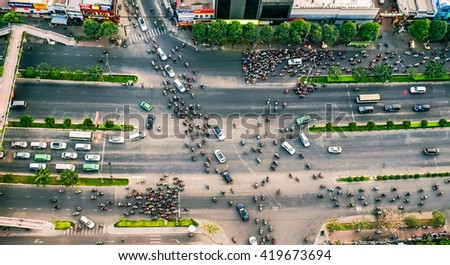 HO CHI MINH, VIETNAM - Mar 01, 2016 : Traffic jam and Environmental pollution. View towards the city center and Van Thanh park in Ho Chi Minh City, Vietnam.