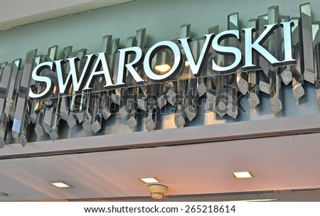 HO CHI MINH, VIETNAM - MARCH 6: Logo of Swarovski flagship store in Ho Chi Minh city centre on March 6, 2015. Swarovski is an austrian producer of luxury cut lead glass.