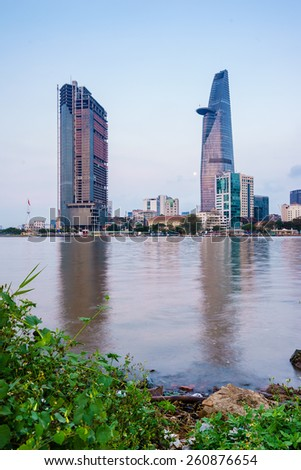 HO CHI MINH, VIETNAM - MARCH 07,2015. Saigon Riverside (view from Thu Thiem), Ho Chi Minh City in the early morning. Ho Chi Minh city is the biggest city in Vietnam - stock photo