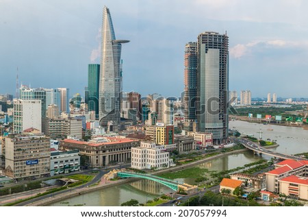 HO CHI MINH, VIETNAM - MAY 8: Ho Chi Minh City Center at evening, Ho Chi Minh city, Vietnam on May 8, 2014. Ho Chi Minh city is the biggest city in Vietnam. - stock photo
