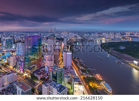 HO CHI MINH, VIETNAM - MAY 10 Panoramic view of Ho Chi Minh city or Saigon in sunset violet , Vietnam. Ho Chi Minh city, Vietnam on May 10, 2014. Ho Chi Minh city is the biggest city in Vietnam - stock photo