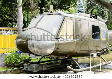 HO CHI MINH, VIETNAM - OCT 4, 2014:  Helicopter  of US Air Force at Vietnamese War Remnants Museum. It contains exhibits relating to the American phase of the Vietnam War