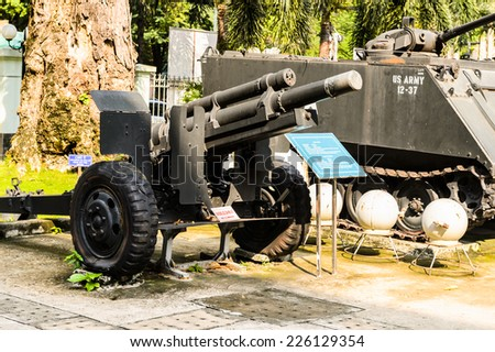 HO CHI MINH, VIETNAM - OCT 4, 2014: Vietnamese War Remnants Museum. It contains exhibits relating to the American phase of the Vietnam War