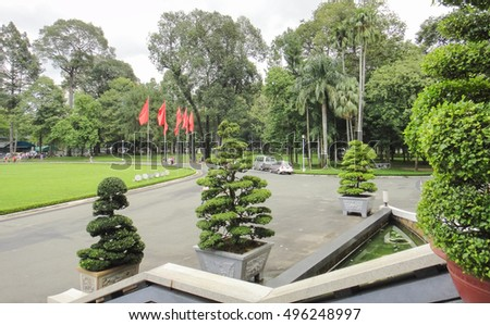 HO CHI MINH/VIETNAM - SEPTEMBER 15 2012: Independence Palace in Ho Chi Minh City - workplace of the President of South Vietnam during the Vietnam War