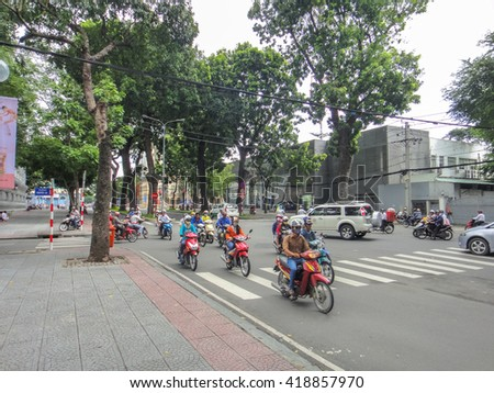 HO CHI MINH/VIETNAM: SEPTEMBER 14 2012: Traffic Jam in Saigon (Ho Chi Minh City)