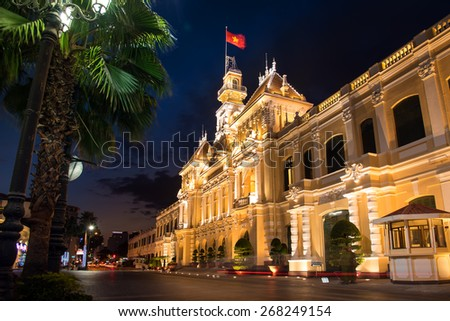 Ho chi minhy, VIETNAM - FEB 27,2015 : The Hochiminh city hall is a colonial architecture style in vietnam - stock photo