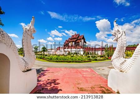 Ho Kham Luang at Royal Park Rajapruek, traditional thai architecture in the Lanna style, Chiang Mai, Thailand  - stock photo