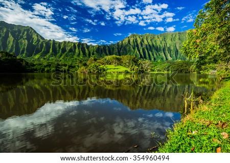 Ho'omaluhia Botanical Garden on Oahu - stock photo