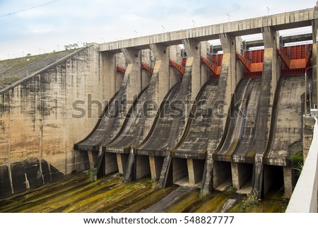 Hoa Binh, Vietnam - Dec 27, 2016: View of Hoa Binh Hydroelectricity Plant. This plant was built from 1979 to 1994 with 8 machines provides 1920 MW, equal to one third of productivity of Vietnam.