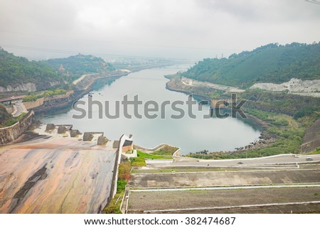 Hoa Binh, Vietnam - Jan 14, 2016: Hoa Binh Hydroelectricity Plant area on misty day. The plant was built from 1979 with 8 machines provides 1920 MW, equal to one third of productivity of Vietnam