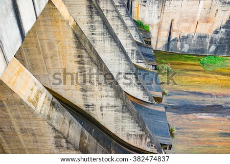 Hoa Binh, Vietnam - Jan 14, 2016: Outlet discharge gate in Hoa Binh Hydroelectricity Plant. The plant built from 1979 with 8 machines provides 1920 MW, equal to one third of productivity of Vietnam.