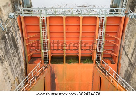Hoa Binh, Vietnam - Jan 14, 2016: Spillway gate of Hoa Binh Hydroelectricity Plant. The plant was built from 1979 with 8 machines provides 1920 MW, equal to one third of productivity of Vietnam.