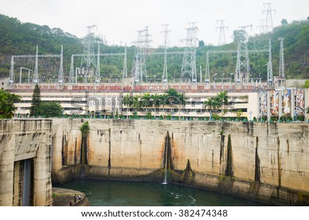 Hoa Binh, Vietnam - Jan 14, 2016: View of Hoa Binh Hydroelectricity Plant. The plant was built from 1979 to 1994 with 8 machines provides 1920 MW, equal to one third of productivity of Vietnam.