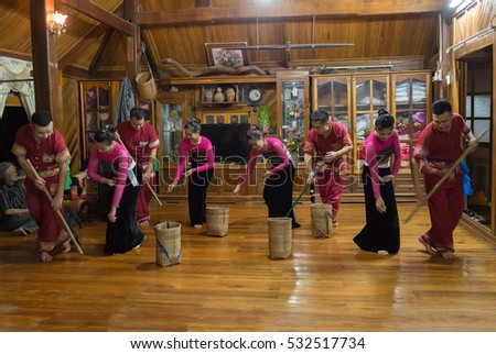 HOA BINH, Vietnam, November 28, 2016 Thai ethnic group, highland Mai Chau, Hoa Binh, folk dance in the village festival