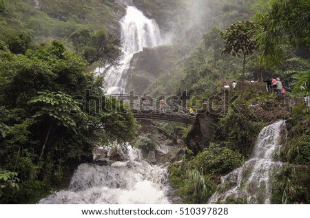HOA BINH, Vietnam, September 12, 2016 waterfalls, virgin forests, high mountains Hoa Binh, Vietnam