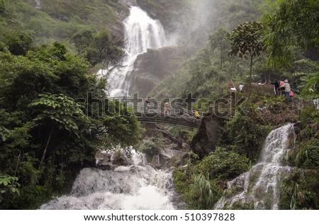 HOA BINH, Vietnam, September 12, 2016 waterfalls, virgin forests, high mountains Hoa Binh, Vietnam