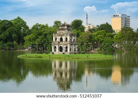 Hoan Kiem lake (Sword lake, Ho Guom) in Hanoi, Vietnam