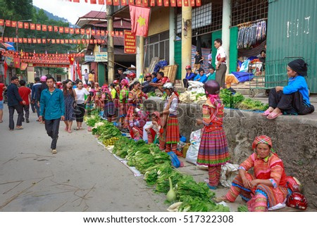 Hoang Su Phi, Ha Giang province, Vietnam - October 2, 2016: ethnic minority people set out the agricultural products plant by themselves at the Sunday fair in Hoang Su Phi.